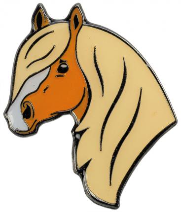 Значок HappyROSS металлический Хафлингер 23х27мм жёлтый