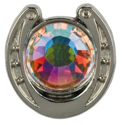 Значок HappyROSS металлический Подкова с искрящимся камнем 14х15мм серебристый