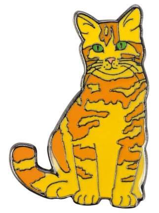 Значок металлический BLUE BUG Кот рыжик 17х25мм жёлтый