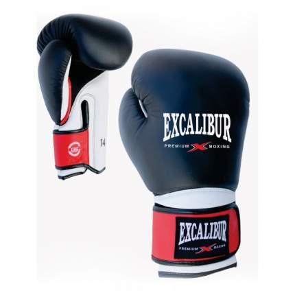 Боксерские перчатки Excalibur 8041/02 черные/белые/красные 12 унций