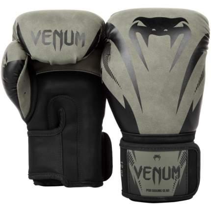 Боксерские перчатки Venum Impact черные/зеленые 10 унций