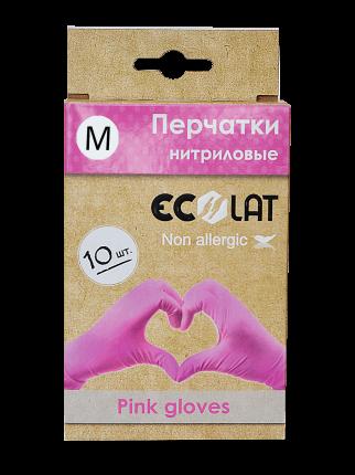 Перчатки медицинские розовые EcoLat, размер M, 10 шт