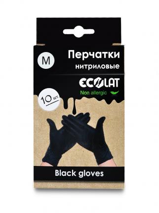 Перчатки медицинские черные EcoLat, размер M, 10 шт