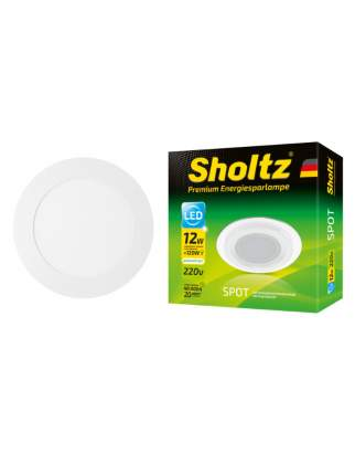 Светильник светодиодный потолочный встраиваемый Sholtz 12Вт 4200К стекло D160мм IP20