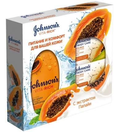 Подарочный набор Johnson&Johnson гель д/душа 250мл+мыло с экстрактом папайи 2шт*125г