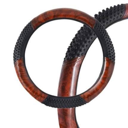 Оплетка SKYWAY Wood-3 XL Черно/Коричневая экокожа