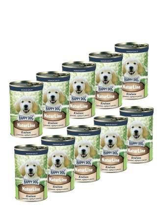 Консервы для щенков Happy Dog , ягненок с печенью, сердцем и рисом, 10шт, 410г