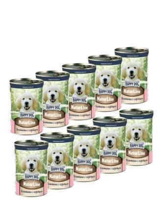 Консервы для щенков Happy Dog , телятина с сердцем, 10шт, 410г