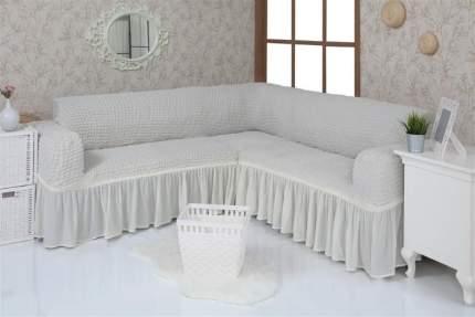 Чехол на угловой диван с оборкой Venera, слоновая кость