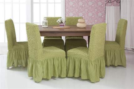 Чехлы на стулья с оборкой Venera, фисташка, комплект 6 штук