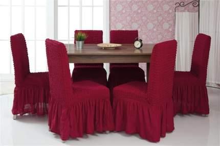 Чехлы на стулья с оборкой Venera, бордовый, комплект 6 штук