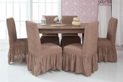 Чехлы на стулья с оборкой Venera, коричневый, комплект 6 штук