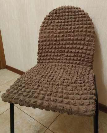 Чехлы на стулья без оборки Venera, коричневый, комплект 6 штук