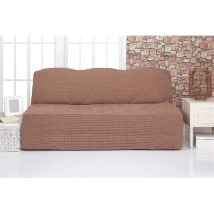 Чехол на трехместный диван без подлокотников и оборки Venera, коричневый
