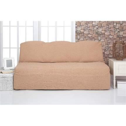 Чехол на трехместный диван без подлокотников и оборки Venera, светло-коричневый