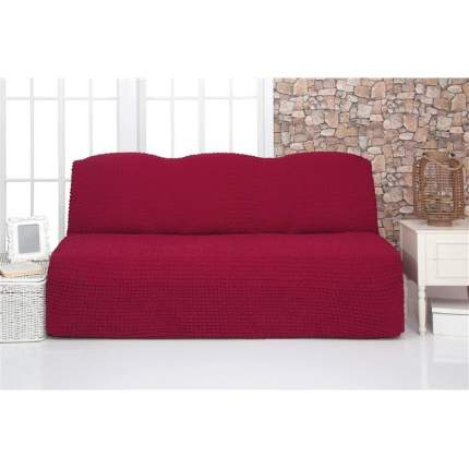 Чехол на трехместный диван без подлокотников и оборки Venera, бордовый