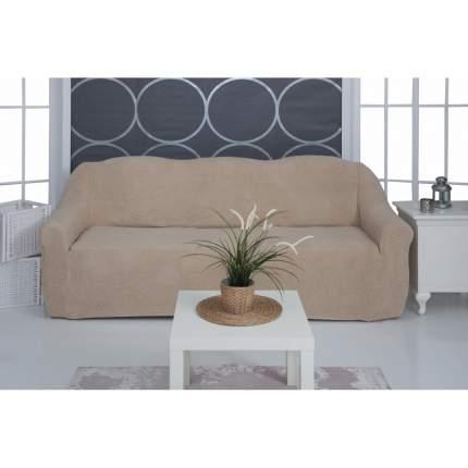 Чехол на трёхместный диван плюшевый Venera, бежевый