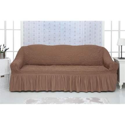 Чехол на трехместный диван с оборкой CONCORDIA, коричневый