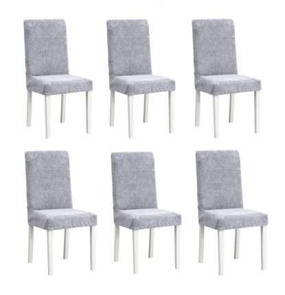 Чехлы на стулья плюшевые Venera, цвет серый, комплект 6 штук