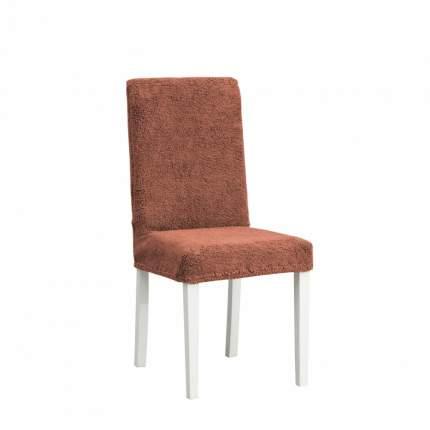 Чехлы на стулья плюшевые Venera, коричнево-красный, комплект 6 штук