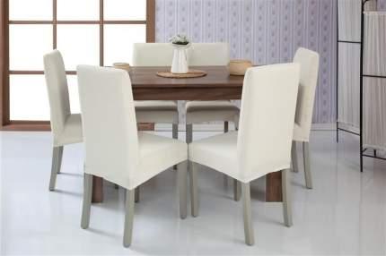 Чехлы на стулья без оборки Venera, молочный, комплект 6 штук