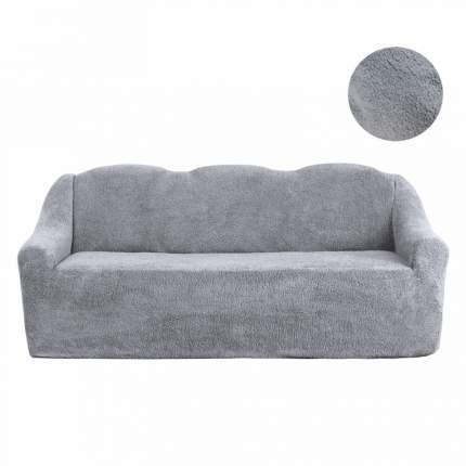 Чехол на трёхместный диван плюшевый Venera, цвет серый