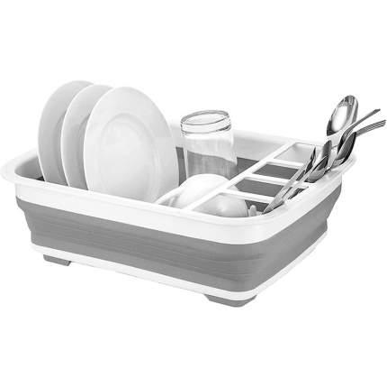 Складная сушилка для посуды силиконовая, серая, Baziator