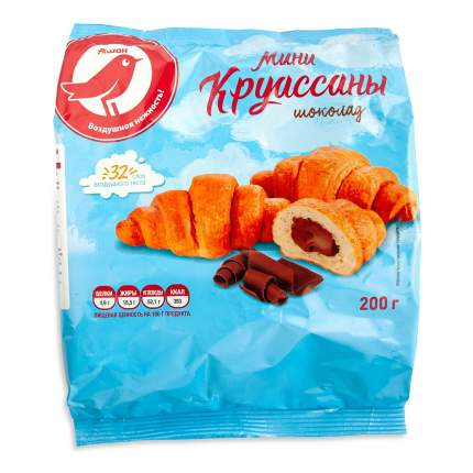 Круассаны-мини АШАН с начинкой со вкусом шоколада, 200 г