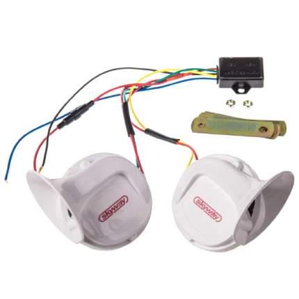 Сигнал звуковой УЛИТКА SKYWAY 017 18 мелодий d=90мм 12V 105dB Белый 2 шт 2-контактный,реле