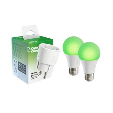 Набор Sber умная розетка 1 шт + умные лампы A60 (цоколь E27) 2шт