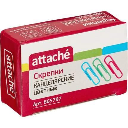 """Скрепки цветные, металлические, с полимерным покрытием """"Attache"""", 28 мм, 100 штук"""