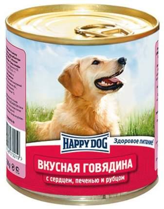 Консервы для собак Happy Dog Вкусная говядина c сердцем, печенью и рубцом, 12шт по 750г
