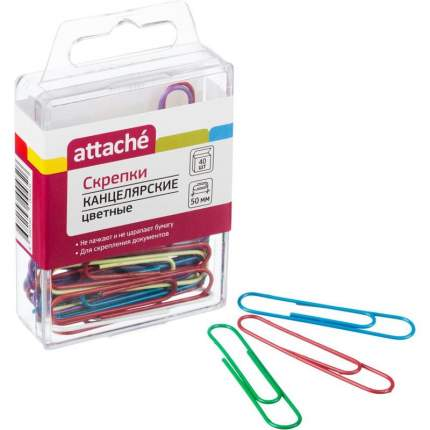 """Скрепки цветные """"Attache"""", 50 мм, 40 штук"""