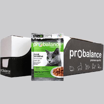 Влажный корм для кошек ProBalance Sensitive, с курицей, 25шт по 85г