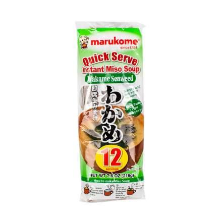 Суп мисо с водорослями алария и тунцом (12 порций), Marukome, 216 г, Япония