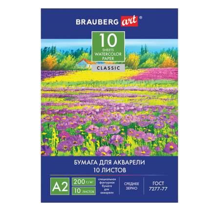 Папка для акварели Brauberg Art Classic Луг А2, 10 листов, 400х590 мм