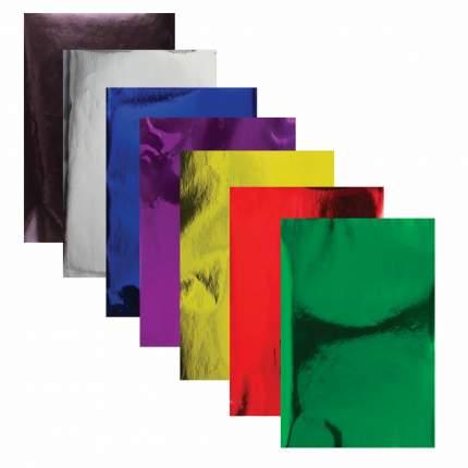 Цветная бумага ОСТРОВ СОКРОВИЩ А4 зеркальная самоклеящаяся, 7 листов, 7 цветов