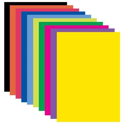 Цветная бумага Brauberg А4 Самоклеящаяся мелованная, 10 листов, 10 цветов