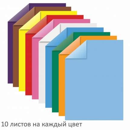 Цветная бумага Юнландия А4 тонированная в массе, 100 листов, 10 цветов, 210х297 мм