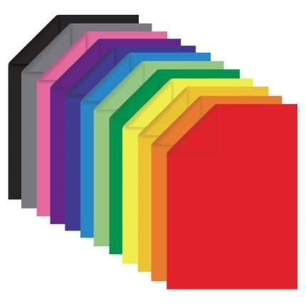 Цветная бумага ОСТРОВ СОКРОВИЩ А4 тонированная в массе, 60 листов, 12 цветов