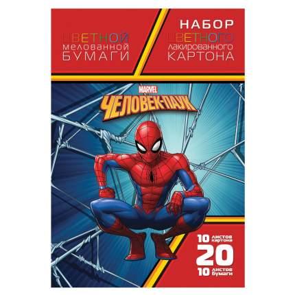 Набор цветного картона и бумаги Hatber А4 Человек-паук мелованный, 10+10 листов, 194х280мм