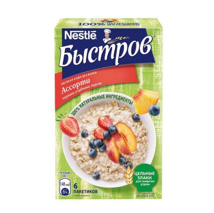"""Каша """"Быстров"""" овсяная с витаминами, ассорти, 240 г, 6 пакетиков, Россия"""