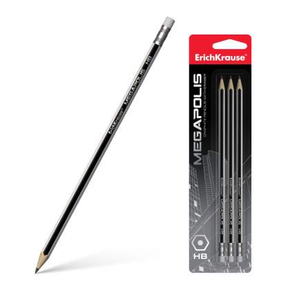 Чернографитный шестигранный карандаш с ластиком ErichKrause® MEGAPOLIS HB блистер 3