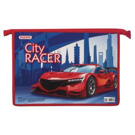 Папка для тетрадей Пифагор А4 City Racer, 1 отделение, картон, молния сверху