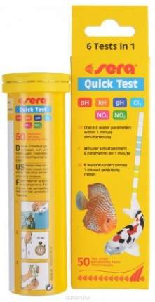 Быстрый тест Sera Quick Test 6IN1 РН, GH, KH, NO2, NO3, CL2 (50 ПОЛОСОК)