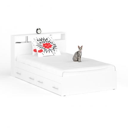 Кровать с ящиками Камелия 1200я+Осн белый, 124х204х88 см