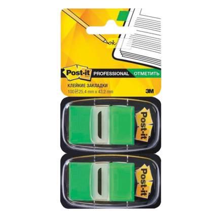 Закладки клейкие Post-It Professional зеленые пластиковые, 25 мм, 100 шт.