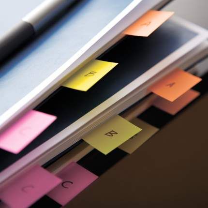 Закладки клейкие Post-It Study желтые пластиковые, 25 мм, 22 шт.