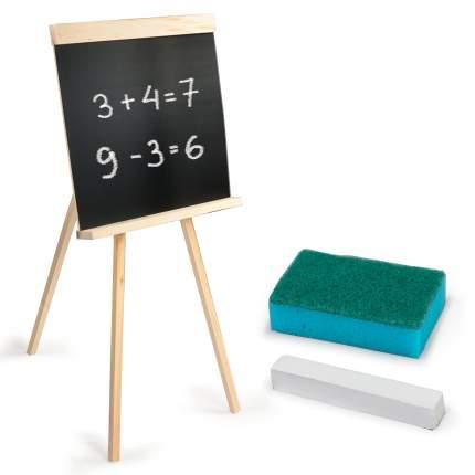 Доска для мела на треноге Пифагор с мелком и губкой, черная, 42х45 см