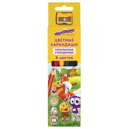 Карандаши цветные Юнландия Сказочный мир утолщенные трехгранные с точилкой, 6 цветов